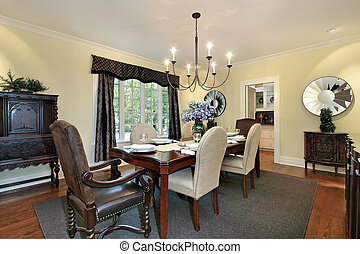 Dining room with mirrors