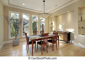 Dining room with narrow windows