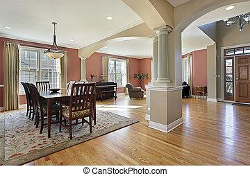 Dining room with open floor plan