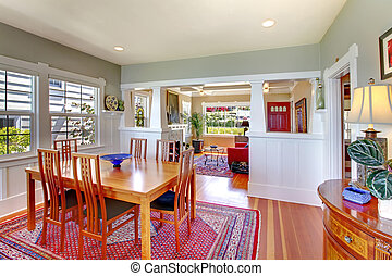 Bright house dining room interior.
