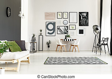 Dining room with sofa