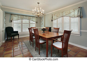 Dining room with spanish floor tiles