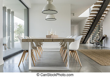 Dining room with stairs - Dining room with window, ceiling...