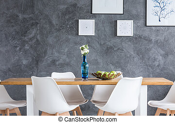 Dining room with textured wall