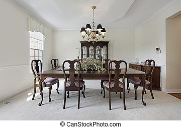 Dining room with white carpeting - Traditional formal dining...
