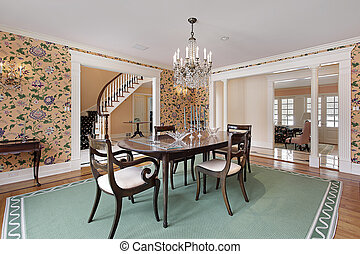Dining room with white colums