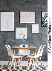 Dining room with white flowers