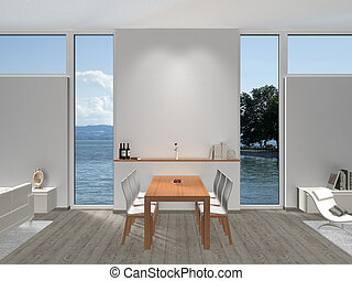 dining room with widows and view to the lake