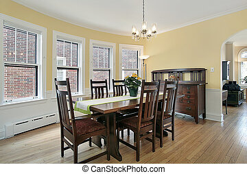 Dining room with wood furniture - Dining room in suburban ...