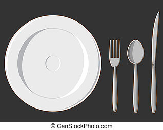 Dining Set - Plate, Fork, Spoon & K - A vector set of a...