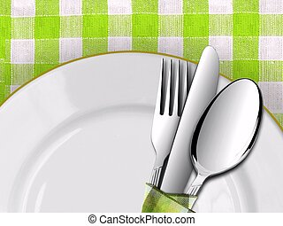 Dining setting on table with Green Checked Tablecloth