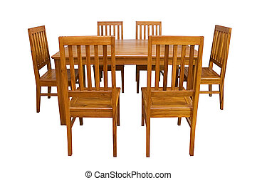 Dining table and chairs isolated