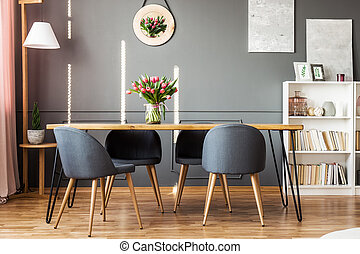 Dining table and tulips - Wooden dining table, grey chairs,...