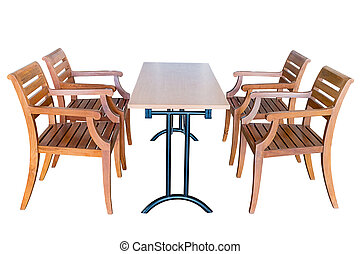 Dining table and wooden chairs.