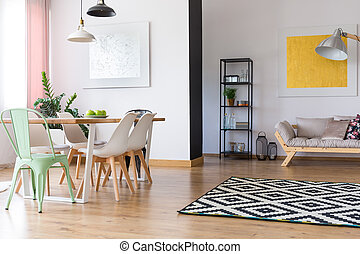 Dining table in bright room