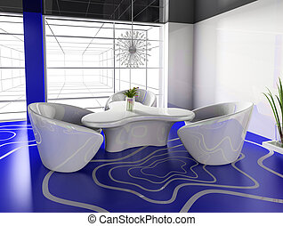 modern cafe - dining table in modern cafe 3d image