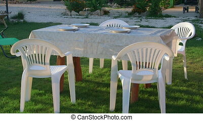 Dining table served on grass lawn in backyard beside summer...