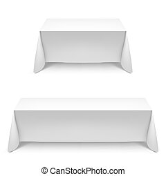 Dining table - Two white rectangular with table tablecloth. ...
