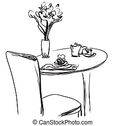 Dining table with coffee. Hand Drawn Sketch Vector illustration.