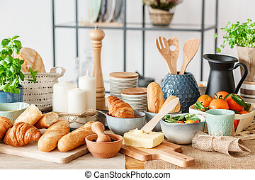 Dining table with fresh bread