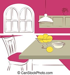 dining table with in kitchen