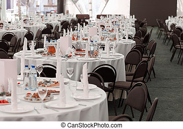 dining tables in the Banquet hall of the modern restaurant