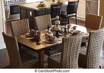 Diningroom. - Diningroom table elegantly set.