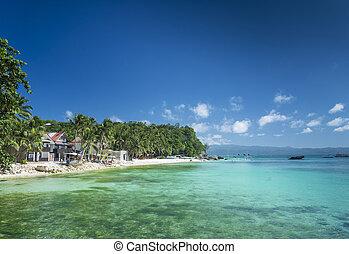 diniwid, playa, en, paraíso tropical, boracay, filipinas
