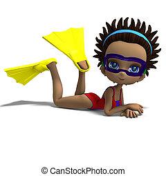 dinky, toon, 女孩, 由于, 跳水, 風鏡, 以及, flippers., 3d, rendering, 由于, 裁減路線, 以及, 陰影, 在上方, 白色