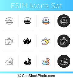 Dinner accessories icons set