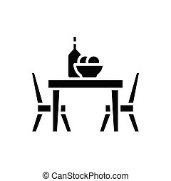 Dinner at the cafe black icon concept. Dinner at the cafe flat  vector symbol, sign, illustration.