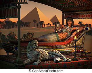 Dinner at the Pyramids, 3d CG - 3d computer graphics of an...