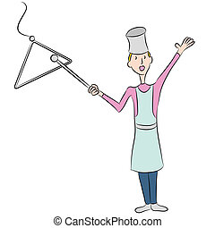 Dinner Bell - An image of a female cook ringing a dinner...