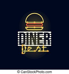 Dinner best retro neon sign, vintage bright glowing signboard, light banner vector Illustration