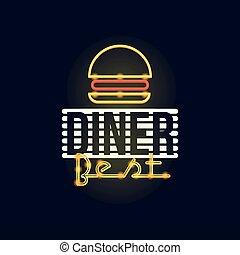 Dinner best retro neon sign, vintage bright glowing signboard, light banner vector Illustration
