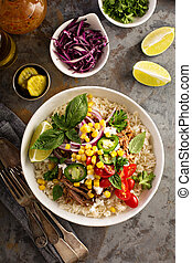 Dinner bowl with rice and pulled pork - Mexican dinner bowl ...