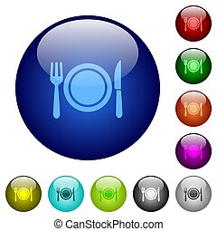Dinner color glass buttons