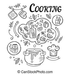 Dinner Cooking Set Of Ingredients And Tools For Food Preparation Hand Drawn Black And White Illustration