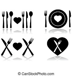 Illustration set showing four different icons symbolizing a dinner date