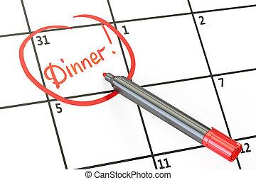 Dinner date on calendar concept, 3D rendering