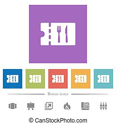 Dinner discount coupon flat white icons in square...