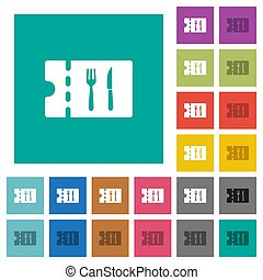 Dinner discount coupon square flat multi colored icons -...