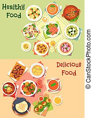 Dinner dishes with healthy dessert icon set
