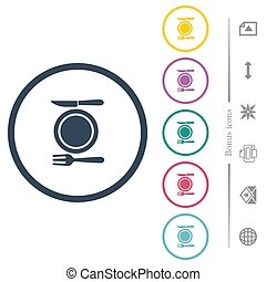 Dinner flat color icons in round outlines