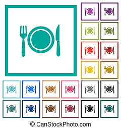 Dinner flat color icons with quadrant frames on white...