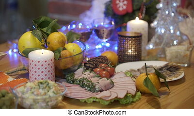 Dinner, food, holiday, christmas and new year, olivier salad...