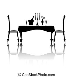 Dinner for two - Silhouette of a romantic table setting for...