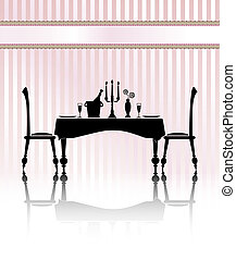 Dinner for two retro - Silhouette of a romantic table...
