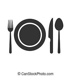 Dinner icon. Plate with fork, knife and spoon