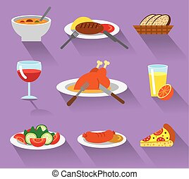 dinner icon set